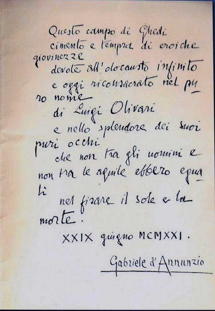Dedica autografata di Gabriele d\'Annunzio
