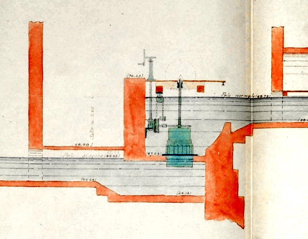 Disegno della turbina idraulica che all'inizio del '900 alimentava i macchinari.